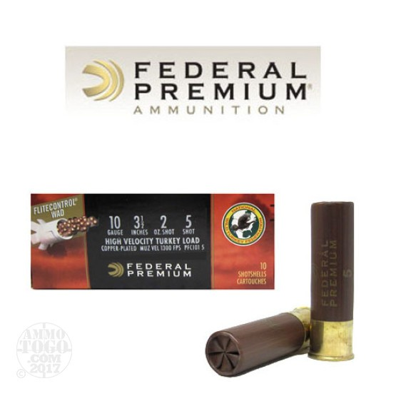 "10rds - 10 Gauge Federal Premium Mag-Shok HV 3 1/2"" 2oz. #5 Turkey Ammo"