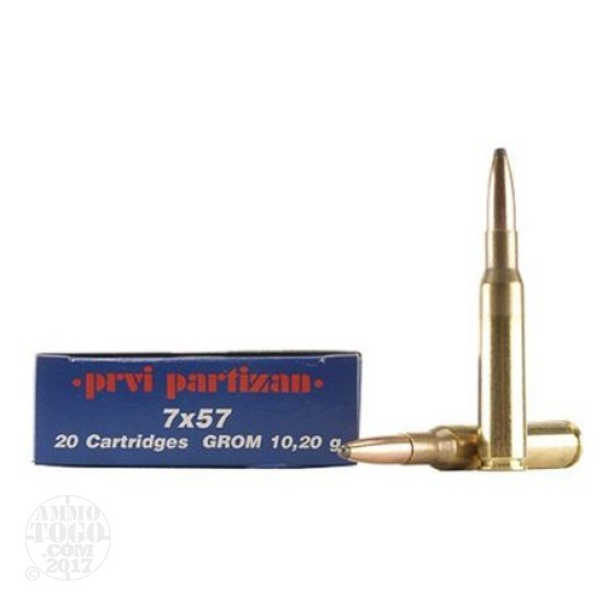 20rds - 7mm Mauser Prvi Partizan 158gr. Soft Point Ammo