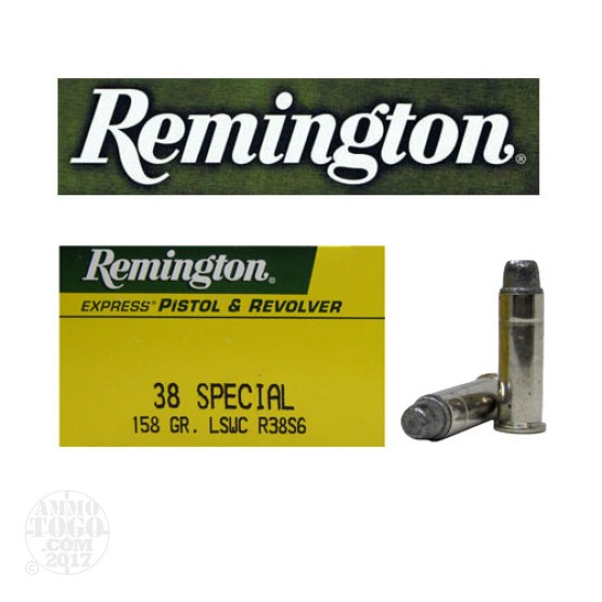 50rds - 38 Special Remington Express 158gr. Lead Semi Wadcutter Ammo