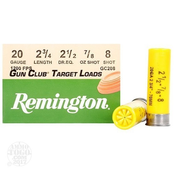 "25rds - 20 Gauge Remington Gun Club 2 3/4""  7/8oz. #8 Shot"