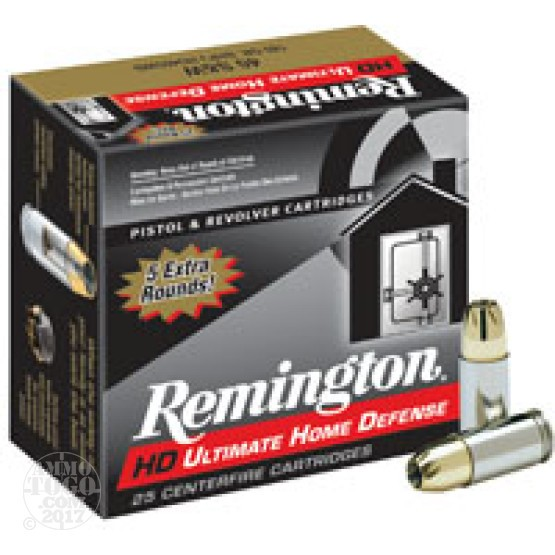25rds - 45 ACP Remington Ultimate Home Defense 230gr. BJHP Ammo