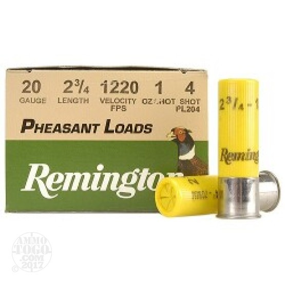 "25rds - 20 Gauge Remington Pheasant Load 2 3/4"" 1oz. #4 Shot Ammo"