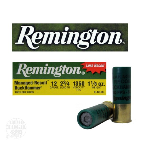 "100rds - 12 Gauge Remington Managed Recoil Buckhammer 2 3/4""  1 1/8oz. Slug"