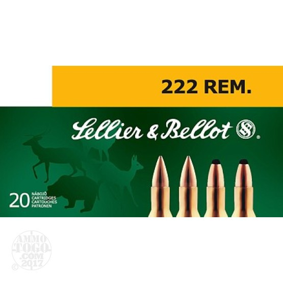 200rds - .222 Rem. Sellier & Bellot 50gr FMJ Ammo