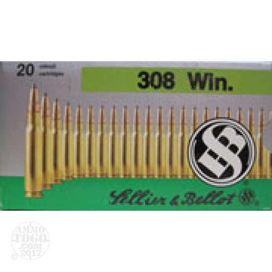 100rds - .308 Win. Sellier & Bellot 180gr Capped Hollow Point Am