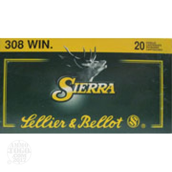 100rds - .308 Win. Sellier & Bellot 180gr Spitzer Boat Tail Ammo