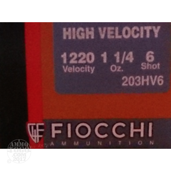 "25rds - 20 Gauge Fiocchi Optima Specific High Velocity 3"" 1-1/4 Ounce #6 Shot Ammo"