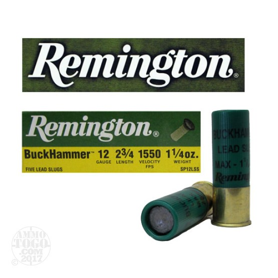 "10rds - 12 Gauge Remington Buckhammer 2 3/4""  1 1/4oz. Slug Ammo"