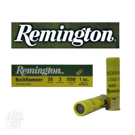 "100rds - 20 Gauge Remington Buckhammer 3""  1 oz. Slug Ammo"