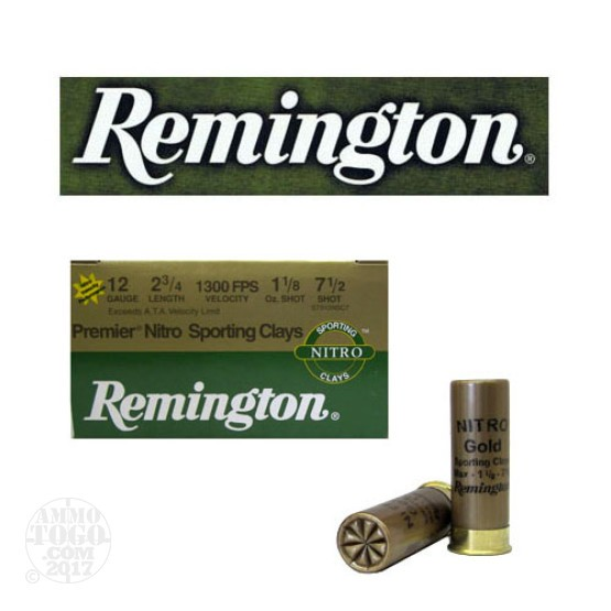 "25rds - 12 Gauge Remington Premier Nitro Sporting Clays 2 3/4""  1 1/8oz. #7 1/2 Shot"
