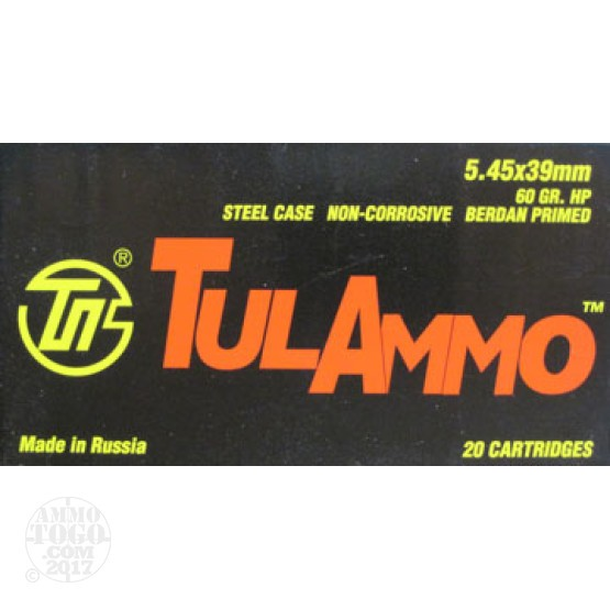 500rds - 5.45x39 Tula 60gr. Hollow Point Ammo
