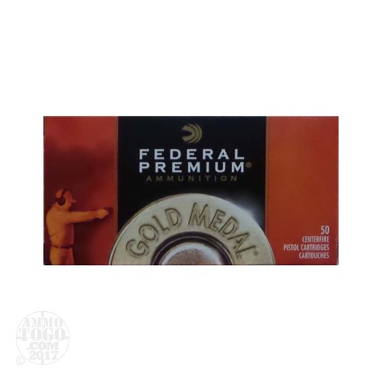 50rds – 45 ACP Federal Gold Medal 185gr. FMJ-SWC Ammo
