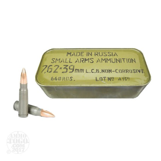 640rds - 7.62x39 Ulyanovsk 122gr. FMJ Ammo in Sealed Can