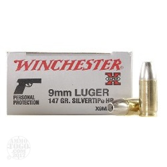 50rds - 9mm Winchester 147gr. Silvertip Hollow Point Ammo