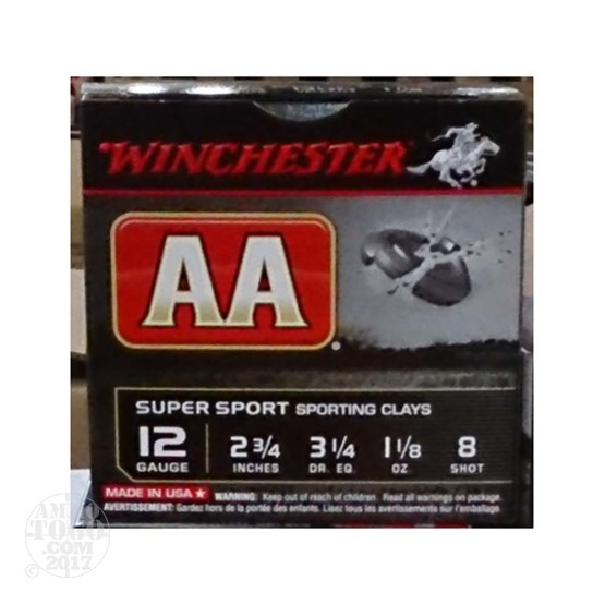 "25rds - 12 Gauge Winchester AA Sporting Clays 2-3/4"" 1-1/8 Ounce #8 Shot Ammo"