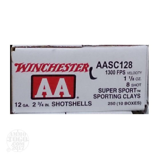 "250rds - 12 Gauge Winchester AA Sporting Clays 2-3/4"" 1-1/8 Ounce #8 Shot Ammo"