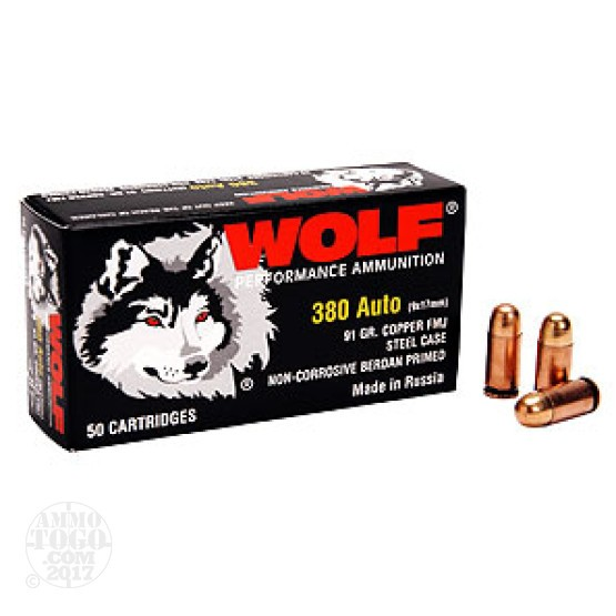 50rds - .380 Auto Wolf FMJ Ammo