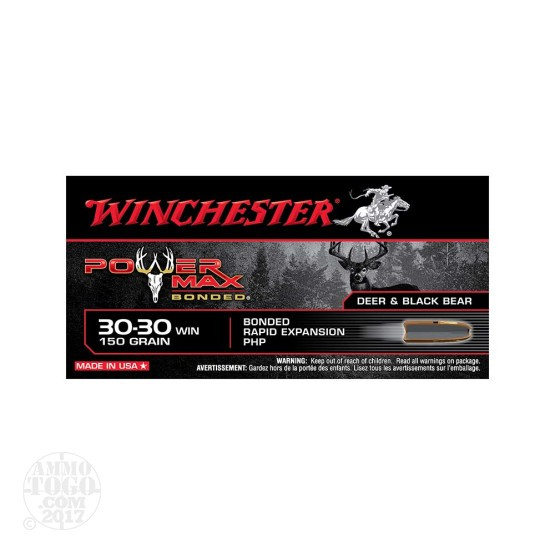 20rds - 30-30 Winchester 150gr. Power Max Bonded Protected Hollow Point Ammo