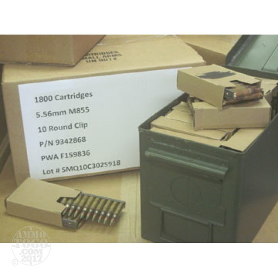 900rds - 5.56 Lake City XM855 62gr. Penetrator Ammo on strippers in Ammo Can