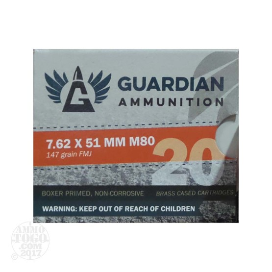 20rds – 7.62x51mm Guardian Ammunition 147gr. FMJ M80 Ammo