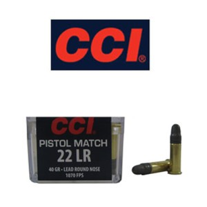 50rds - 22LR CCI Pistol Match 40gr. Lead Round Nose Ammo