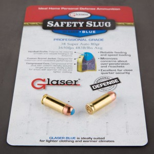 6rds - 38 Super Auto Glaser Blue 80gr. Safety Slug Ammo