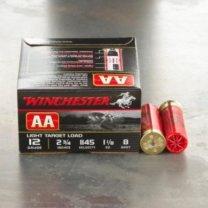 "25rds - 12 Gauge Winchester AA Light Target 2 3/4"" 1 1/8 Ounce #8 Shot Ammo"