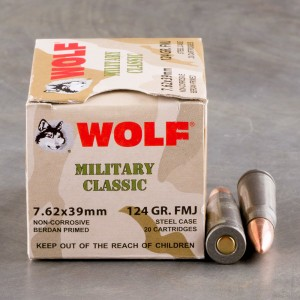 1000rds - 7.62x39 WPA Military Classic 124gr. FMJ Ammo