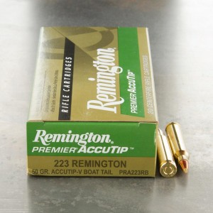 20rds - 223 Remington 50gr. Premier AccuTip-V Boat Tail Ammo