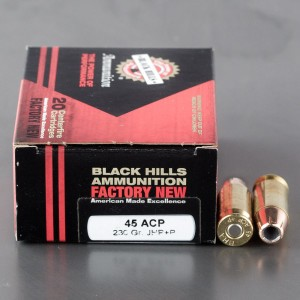 20rds - 45 ACP Black Hills 230gr. +P Jacketed Hollow Point Ammo