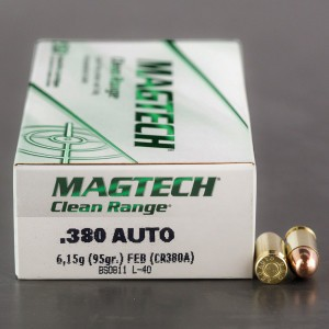 50rds - 380 Auto MAGTECH 95gr. FEB CleanRange Ammo