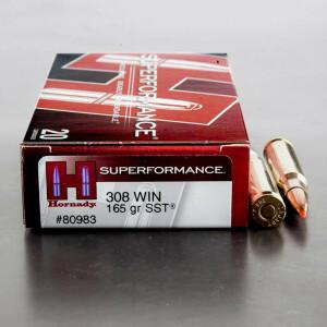 20rds - 308 Hornady Superformance 165gr. SST Polymer Tip Ammo