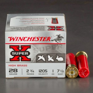 "25rds - 28 Gauge Winchester Super-X High Brass 2 3/4"" 1oz. #7 1/2 Shot Ammo"
