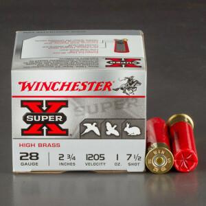 """25rds - 28 Gauge Winchester Super-X High Brass 2 3/4"""" 1oz. #7 1/2 Shot Ammo"""