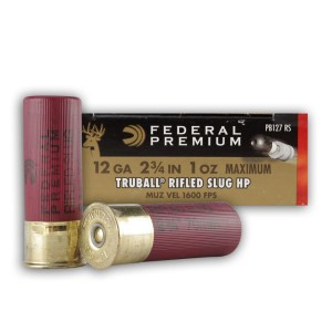 "5rds - 12 Gauge Federal Premium Truball 2 3/4"" 1 ounce rifled slug HP Ammo"