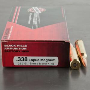 20rds - 338 Lapua Black Hills 250gr. Sierra MatchKing Ammo