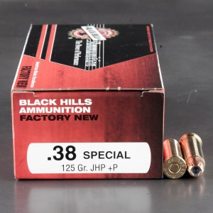 50rds - 38 Special Black Hills 125gr. +P Jacketed Hollow Point Ammo