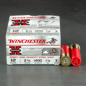 "25rds - 12 Gauge Winchester Super-X 2 3/4"" 1 1/8oz #3 HV Steel Shot Ammo"