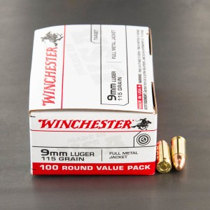 1000rds - 9mm Winchester USA 115gr. FMJ Value Pack Ammo