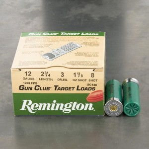 "25rds - 12 Gauge Remington Gun Club 2 3/4""  1 1/8oz. #8 Shot"