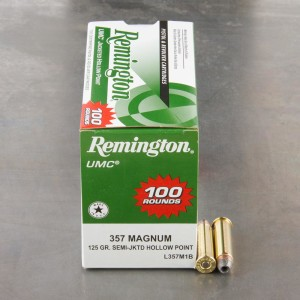100rds - 357 Mag Remington 125gr. Semi Jacketed Hollow Point Ammo