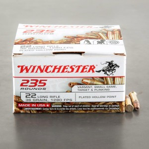 235rds - 22LR Winchester 36gr Copper Plated Hollow Point
