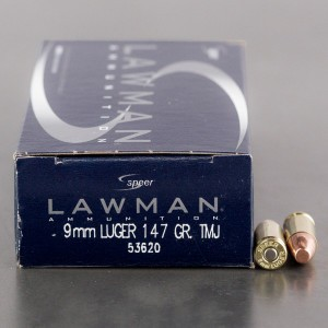 50rds - 9mm Speer Lawman 147gr. TMJ Ammo