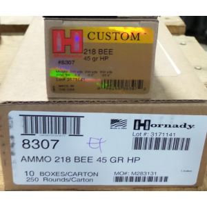 25 Rounds - 218 Bee Hornady 45 gr HP Ammo