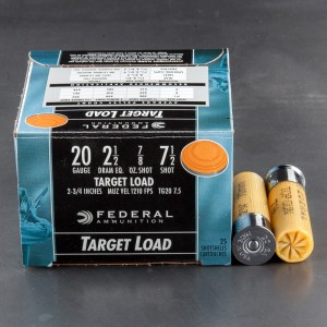 "25rds - 20 Gauge Federal Top Gun 2 3/4"" 2 1/2 Dram 7/8oz. #7 1/2 Shot Ammo"