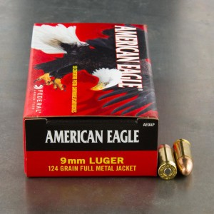 1000rds - 9mm Federal American Eagle 124gr. FMJ Ammo