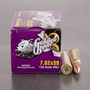 20rds - 7.62x39 Golden Bear 123gr. FMJ Ammo