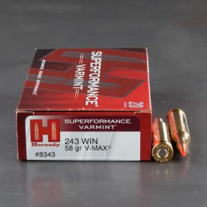 20rds - 243 Win. Hornady Superformance Varmint 58gr. V-Max Polymer Tip Ammo