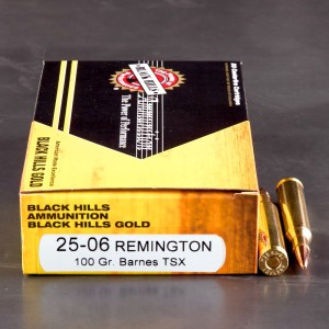 20rds - 25-06 Rem. Black Hills Gold 100gr. Barnes Triple Shock Hollow Point Copper Ammo
