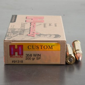 20rds - 358 Win. Hornady Custom 200gr. SP Ammo